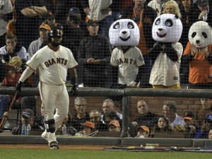 Pablo Sandoval with some of his fellow pandas