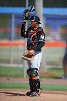 GCL Marlins catcher Pablo Garcia (5) during the first game of a doubleheader against the GCL Mets on July 24, 2015 at the St. Lucie Sports Complex in St. Lucie, Florida. GCL Marlins defeated the GCL Mets 5-4. (Mike Janes/Four Seam Images)