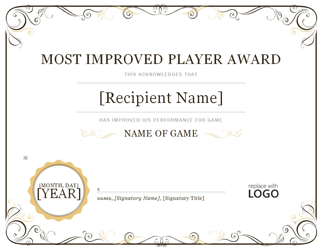 2023 most improved player continental baseball league for Most improved certificate template