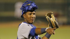 Salvador Perez pointing to SS John Aiello after a double play.